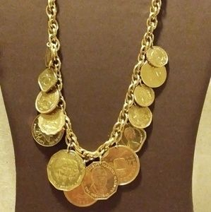 Vtg International Coin Gold Chain Link Necklace